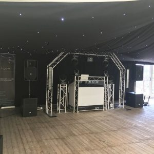 DJ Booth With Plinths and uplighters